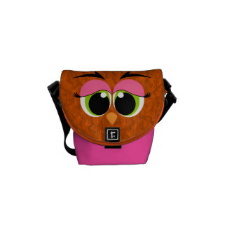 Cute and Colorful Orange Furry Bird Green Eyes Commuter Bags