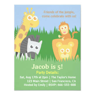 Cute and Colourful Jungle Animals Birthday Party Custom Announcement