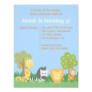 "Cute and Colourful Safari Animals Birthday Party 4.25"" X 5.5"" Invitation Card"