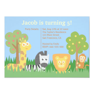 Cute and Colourful Safari Animals Birthday Party Announcements