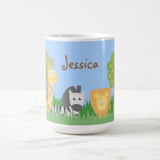 Cute and Colourful Safari Animals Theme Mug