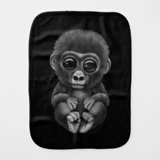 Cute and Curious Baby Gorilla on Black Baby Burp Cloths
