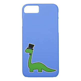 Cute and Fancy Green Dinosaur with Top Hat iPhone 8/7 Case