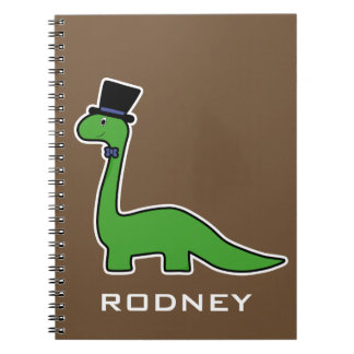 Cute and Fancy Green Dinosaur with Top Hat Spiral Notebook