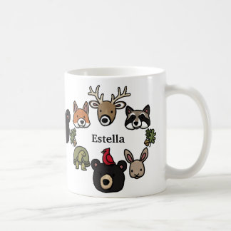 Cute and Friendly Forest Animals, Add Your Name Basic White Mug