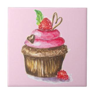 Cute and Fun Chocolate, Raspberry Cupcake Small Square Tile