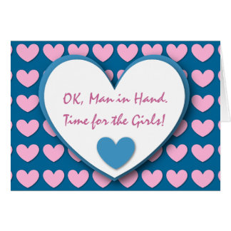 Cute and Funny Be My Bridesmaid PINK BLUE HEARTS 1 Greeting Card