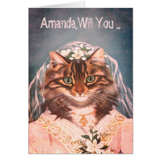 Cute and funny bride cat be my bridesmaid card