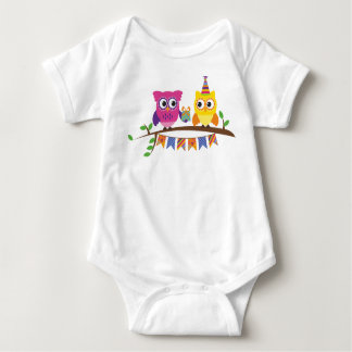 Cute and Funny owl couple Baby Bodysuit