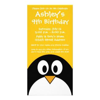 Cute and Modern Cartoon Penguin Photo Greeting Card