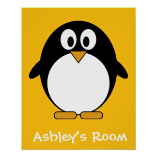 Cute and Modern Cartoon Penguin Poster