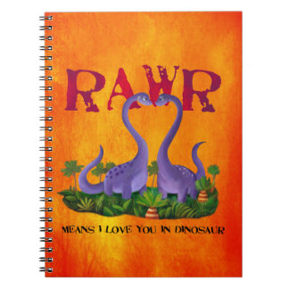 Cute and Romantic Dinos - Rawr Notebook