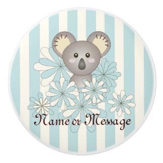 Cute Animal Cartoon Baby Koala Pastel Blue Kids Ceramic Knob