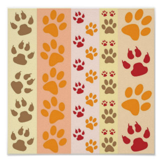 Cute Animal Paw Prints Pattern in Natural Colors Poster