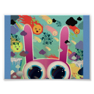 Cute animal peeks out poster