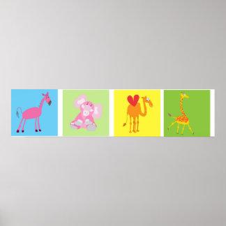 Cute Animal Poster: Horse, Elephant, Camel, Giraff Poster