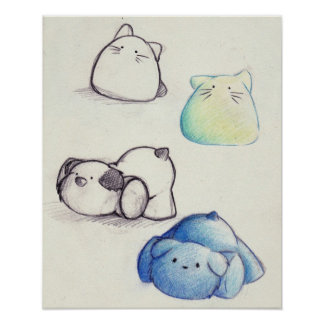 Cute Animal Sketches Poster