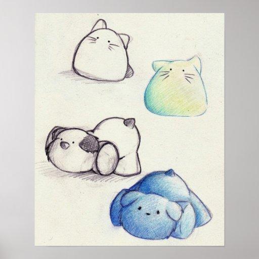 Cute Animal Sketches Print
