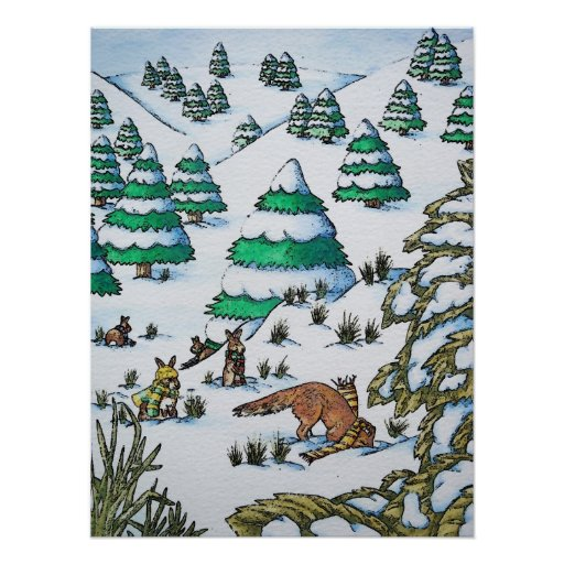 cute animals in the snow illustration art poster