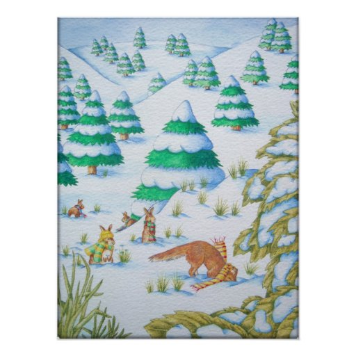 cute animals in the snow illustration art poster posters