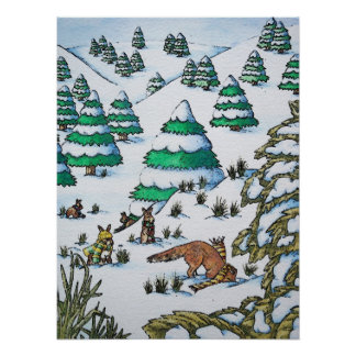 cute animals in the snow illustration wildlife art poster
