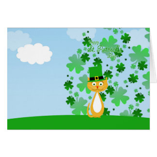Cute animated St. Patrick's Day Cat Card