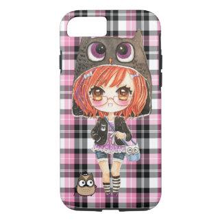 Cute anime chibi girl in kawaii owl hoodie iPhone 8/7 case