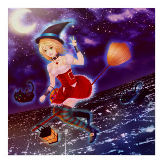Cute anime witch girl with flying pet cats poster