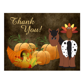 Cute Appaloosa Horse and Turkey Autumn Thank You Postcard