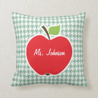 Cute Apple on Sea Green Houndstooth Throw Cushions