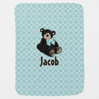 Cute Aqua and Brown Teddy Bear Custom Baby Blanket