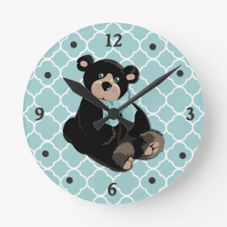 Cute Aqua and Brown Teddy Bear Wall Clock