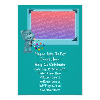 Cute Aqua Bear Colorful Hearts Invitation