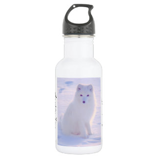 Cute Arctic Fox Winter Outdoor Scene Photo Design 532 Ml Water Bottle