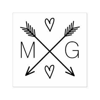 Cute Arrows Hearts Double Monogram Wedding Logo Self-inking Stamp
