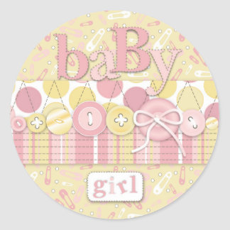 Cute as a Button Girl Sticker