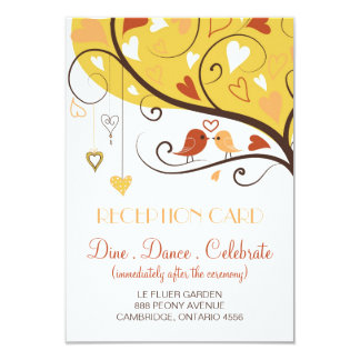 Cute Autumn Lovebirds Wedding Reception Card