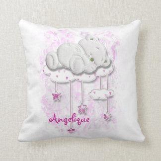 Cute baby bear pink girls throw pillow