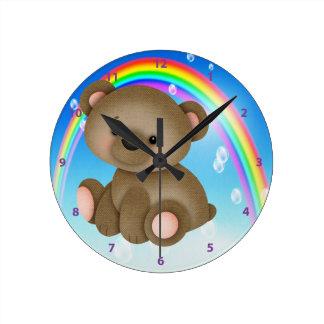 Cute Baby Bear Rainbow Clock
