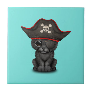 Cute Baby Black Panther Cub Pirate Tile