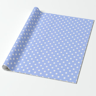 Cute Baby Boy Blue White Dots Wrapping Paper 2