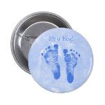 Cute Baby Boy Footprints Birth Announcement Buttons