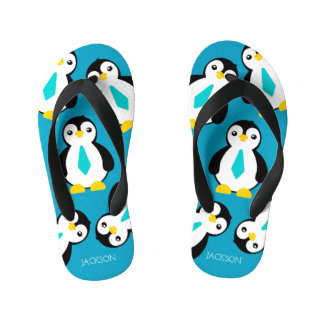 Cute Baby Boy Penguins with Blue Neckties Thongs
