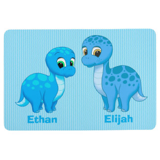 Cute Baby Brother Blue Dinosaurs Floor Mat