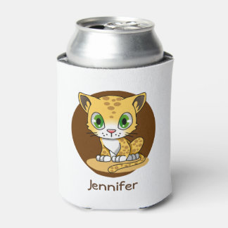 Cute baby cat leopard cartoon name kids can cooler