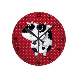Cute Baby Cow Round Clock