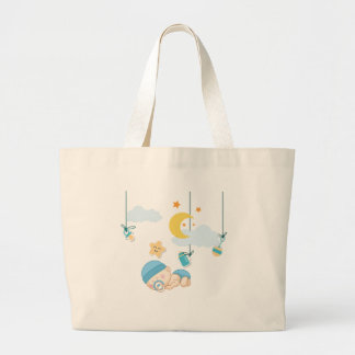 Cute Baby Dreaming Large Tote Bag