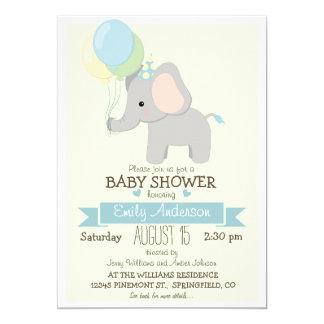 "Cute Baby Elephant, Jungle Zoo Boy Baby Shower 5"" X 7"" Invitation Card"