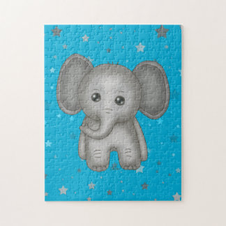 Cute Baby Elephant with Blue Stars Background Jigsaw Puzzle