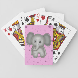 Cute Baby Elephant with Pink Stars Background Playing Cards